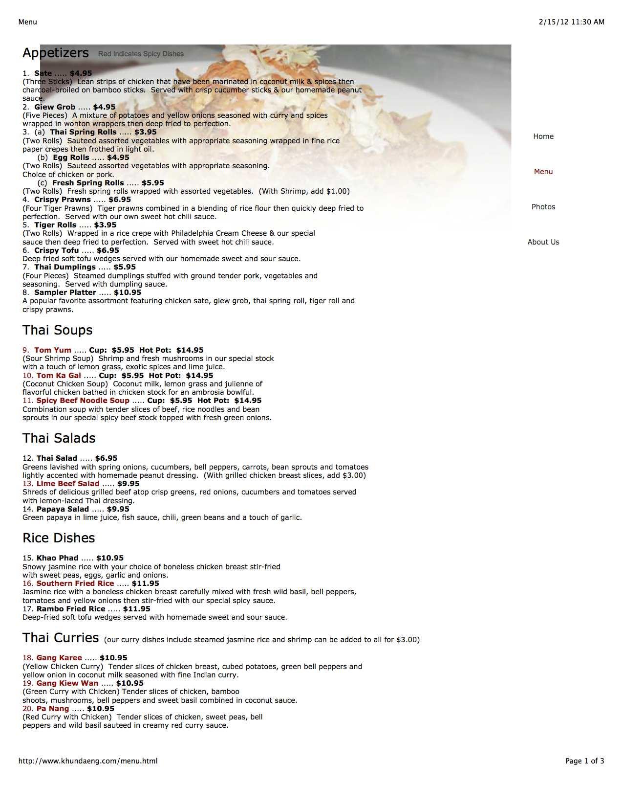 Khun Daeng Thai Kitchen Mishawaka IN Menu Hours Details