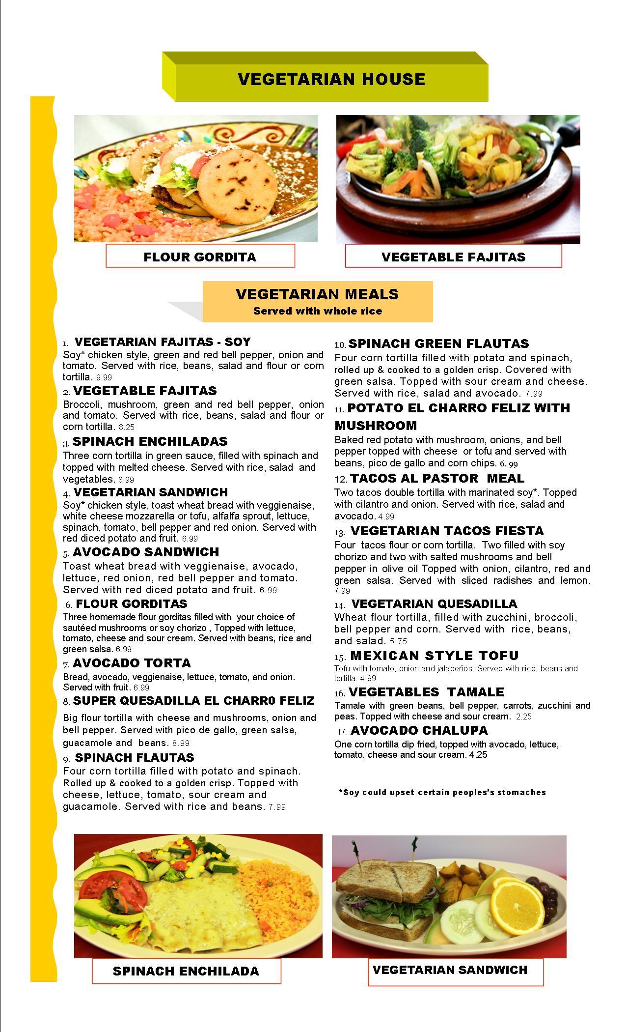 El Charro Feliz Authentic Mexican Restaurant Amp Vegetarian